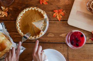 Pumpkin pie on tablescape